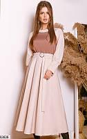Платье миди женское стильное демисезонное креп-костюмка 42-46 размеров,цвет светло-бежевый