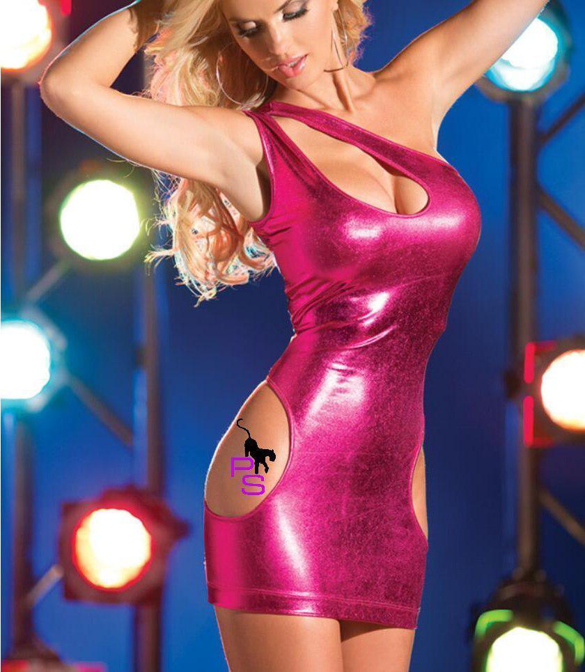 """Эффектное виниловое платье сексуальный эротический интимный пеньюар """"Анджелина""""8037 розовое нижнее белье ре4"""
