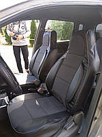 Чехлы на сиденья КИА Каренс (KIA Carens) (универсальные, кожзам+автоткань, пилот)