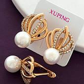 Позолоченные серьги с жемчугом, медицинское золото Xuping