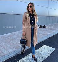 Пальто женское стильное кашемировое ниже колен с большими карманами (Норма)