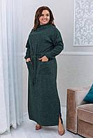 Платье женское в пол ангоровое большого размера зеленое