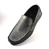 Мокасины серые мужская обувь большого размера с перфорацией Rosso Avangard Special Metalic 46 размер