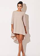 Платье свободного кроя из платьельно-костюмной ткани бежевого цвета сзади длиннее впереди короче