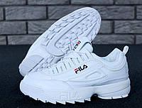 Кроссовки зимние Fila Disruptor 2 женские белые, в стиле Фила Дисраптор. Кожа, меж 100%, прошиты Код KD-11653