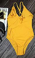 Женский сдельный купальник с оборками на тонких бретелях 42-46 р