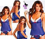 """Синий сексуальный эротический интимный кружевной пеньюар """"Кларисса""""6021 ре4 бэбидолл babydoll боди нижнее бель, фото 2"""