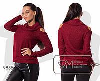 Модный стильный свитерок вязка с вырезом на плече в размерах 42-54. Арт-2800/23
