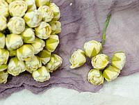 Бутоньерка пион велюр желтого цвета 6 шт, фото 1