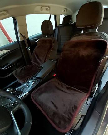 Автомобильная накидка на сиденье из овчины Коричневая, фото 2