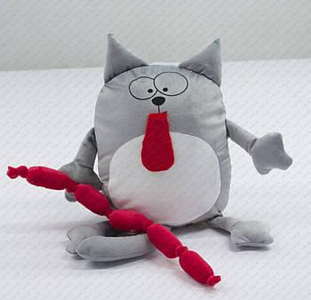 """Подушка-іграшка """"Кіт, який об'ївся сосисками 20203"""" плюшева з місцем для сублімації"""