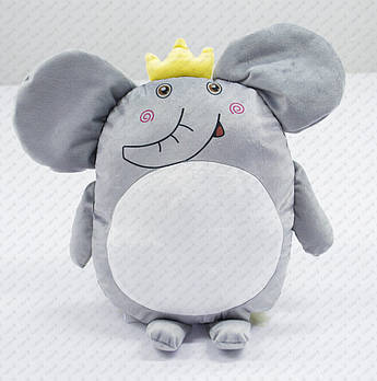 """Подушка-іграшка """"Слоненя з короною 20202"""" плюшева з місцем для сублімації"""