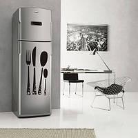 Виниловая наклейка на холодильник столовые приборы