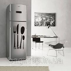 Вінілова наклейка на холодильник столові прилади