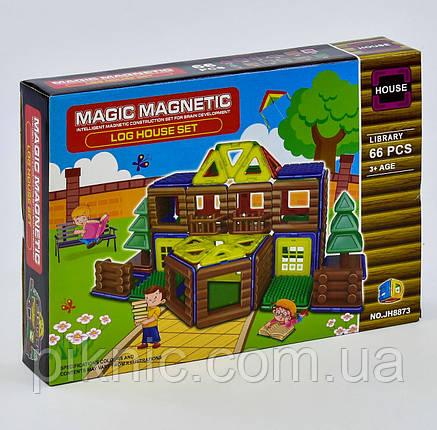 Конструктор магнитный Библиотека для детей, 66 деталей. Детский игровой набор, фото 2
