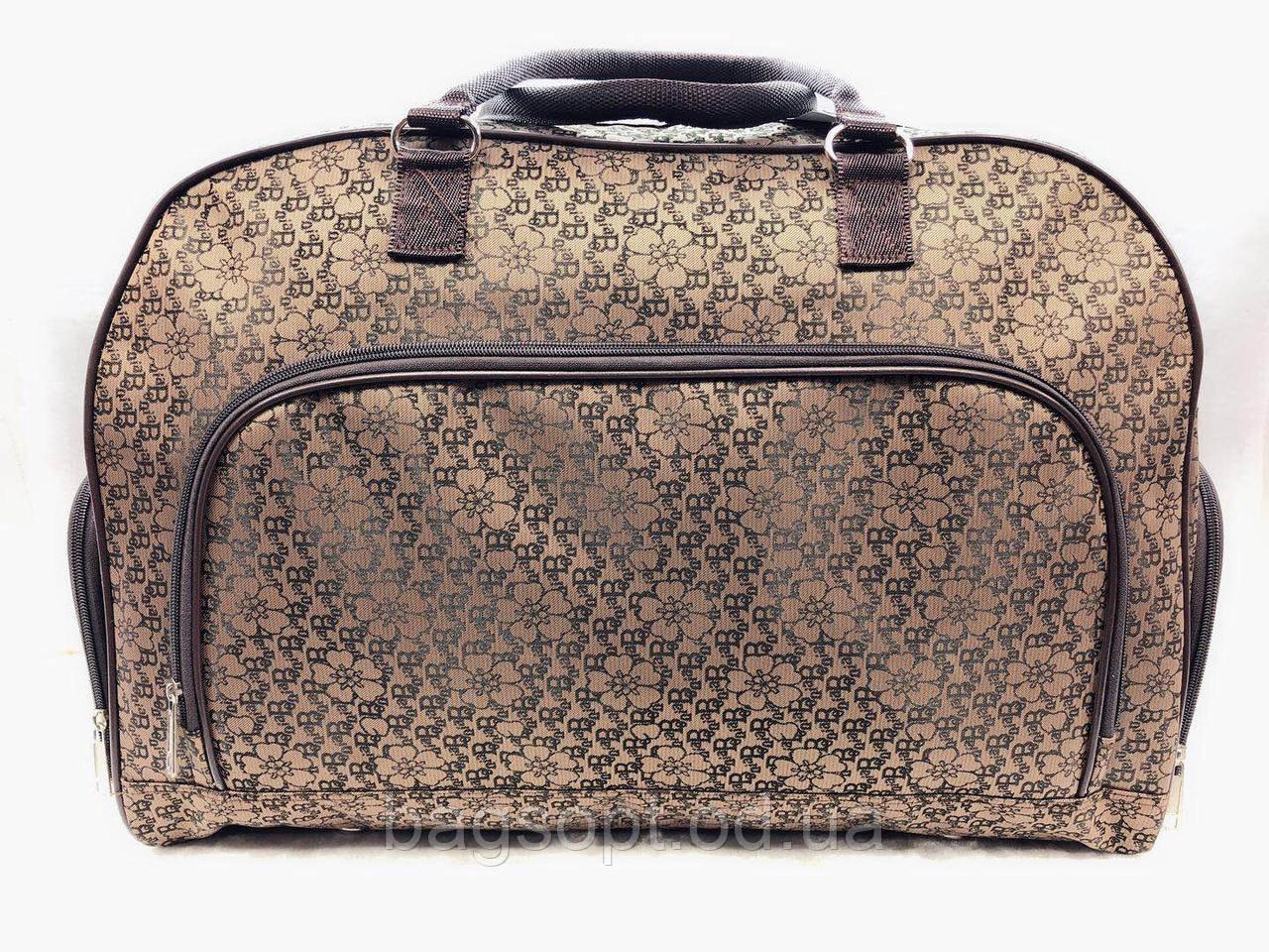 Коричневая дорожная женская текстильная сумка саквояж