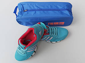Чехол-сумка синего цвета для хранения и упаковки обуви с прозрачной вставкой, длина 33 см