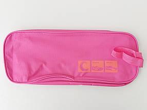 Чехол-сумка розового цвета для хранения и упаковки обуви с прозрачной вставкой, длина 33 см, фото 3