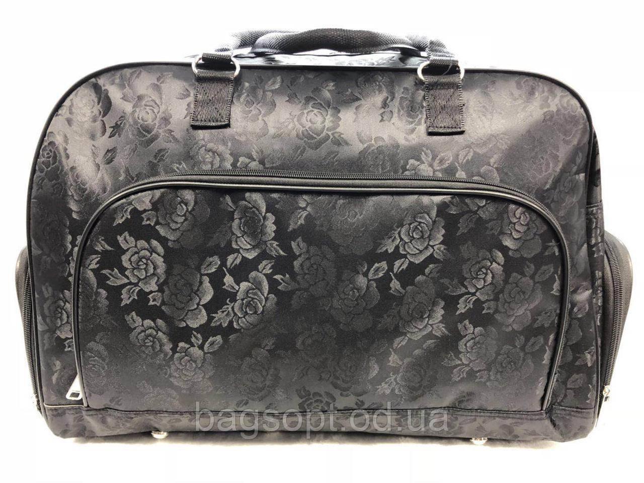 Черная дорожная женская большая сумка-саквояж текстильная