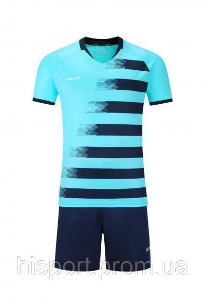 Игровая футбольная форма для команд бирюзово-т.синяя 021 Europaw