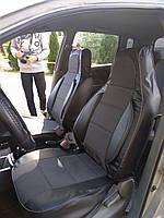 Чехлы на сиденья Рено Кангу (Renault Kangoo) (универсальные, кожзам+автоткань, пилот)