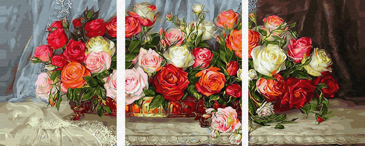 Картина по номерам Натюрморт из роз (PX5275) 50 х 120 см
