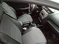 Чехлы на сиденья Рено Трафик (Renault Trafic) 1+1 (универсальные, кожзам+автоткань, с отдельным подголовником), фото 1