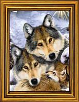 Семья волков. Схема вышивки бисером на холсте