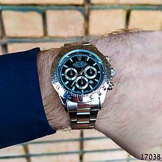 Часы мужские в стиле Rolex. Мужские наручные часы цвета серебро. Часы с черным циферблатом Годинник чоловічий