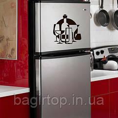 Вінілова наклейка на холодильник Винні келихи