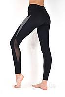 Женские спортивные леггинсы с утяжкой, лосины для фитнеса с высокой посадкой Valeri 1215 черные с серым, фото 1