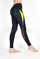 Спортивные лосины, леггинсы для фитнеса / высокая посадка и широкий пояс / вставки сетки Valeri 1215 с жёлтым, фото 1