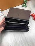 Стильный мужской кошелек на молнии Louis Vuitton черный Премиум Качество бумажник Трендовый Луи Виттон копия, фото 3