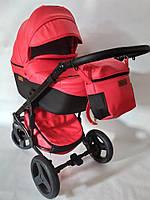 Детская универсальная коляска 2 в 1 Mikrus Onyx 64 красная+черная кожа