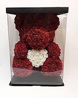 Мишка из 3D роз с сердцем 40 см в коробке - лучший подарок девушке на любой праздник
