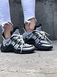 Женские кроссовки Louis Vuitton Arclight Silver Black(серебристо-черные)