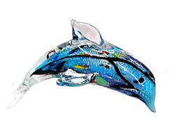9190076 Дельфин цветное литое стекло