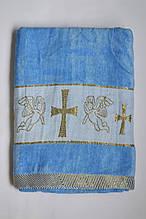Крыжма велюровая Baby-Tex 70х140 см Голубая