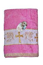 Крижма велюрова Baby-Tex 70х140 см Рожева