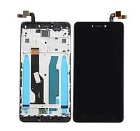 Дисплей (экран) для Xiaomi Redmi Note 4X + тачскрин, черный, с передней панелью, оригинал