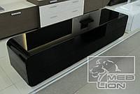 Черная глянцевая тумба со стеклом и скругленными краями  «Maestro maxi»  2m