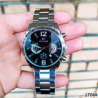 Мужские наручные часы серебристые С черным циферблатом Годинник чоловічий
