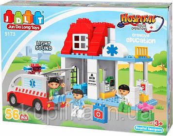 """Конструктор JDLT 5173 (аналог Lego Duplo) """"Пункт скорой помощи"""" 56 деталей"""