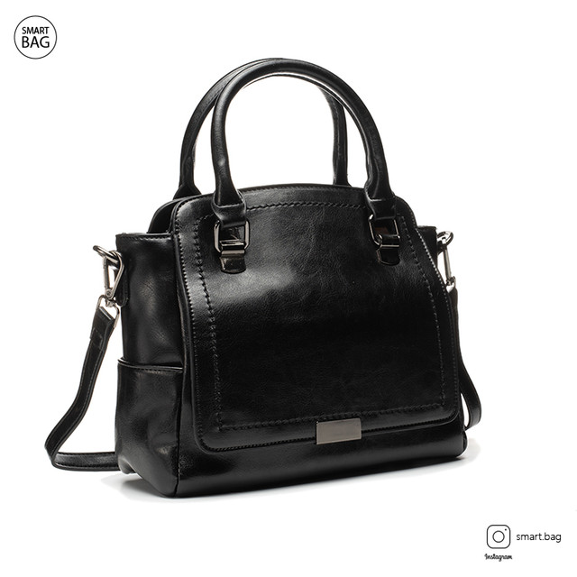 Женская кожаная сумка на плечо | черная