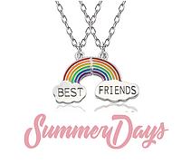 Парные кулоны для друзей Best Friends с радугой