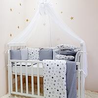 Детский постельный комплект Baby Design Stars серый 6 предметов