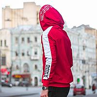 Худи мужская красная с белым 20XX, толстовка с двумя капюшонами