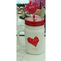 Чашка-банка с закручивающейся крышкой и трубочкой сердце