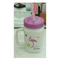 Чашка-банка с закручивающейся крышкой и трубочкой Фламинго