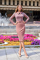 """Изысканное офисное платье от Jadone Fashion """"Аврора"""" с гипюром (3 цвета, р.S-XL)"""